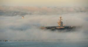 The aircraft carrier USS Carl Vinson (CVN 70) and naturally-occurring fog in San Diego on Feb. 11.  /DoD/Glenn Fawcett