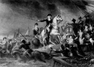 Retreat at Long Island by J.C. Armytage (1820-1897), shows Gen. George Washington leading the retreat across the East River on Aug. 29, 1776.