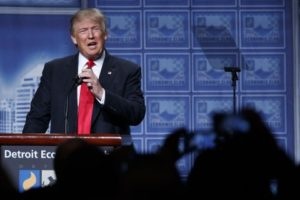 Donald Trump givng his economic policy speech at the Detroit Economic Club, on Aug. 8. / Evan Vucci / AP