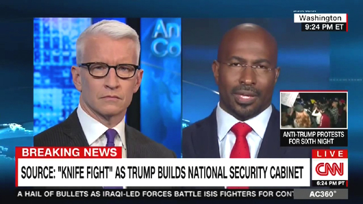 Anderson Cooper, left, and Van Jones on CNN.