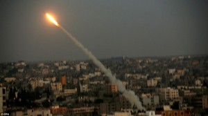 A rocket is launched from the Gaza Strip into Israel by Hamas on July 9.