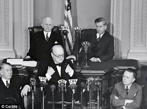 'Laugh but listen': Churchill also addressed a joint session of Congress three times