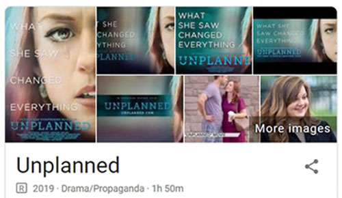 Google lists pro-life 'Unplanned' movie as propaganda
