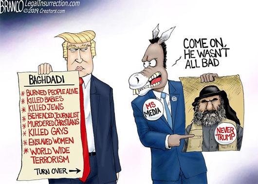 Orange man bad; Baghdadi? He had issues